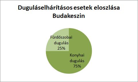 Duguláselhárítás esetek eloszlása Budakeszin